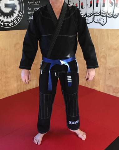 Grind Kaha Premium Gi - Black with White Stitching