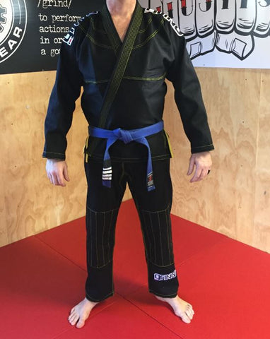 Grind Kaha Premium Gi - Black with Yellow Stitching