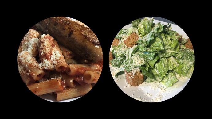 PENNE PASTA & ITALIAN SAUSAGE SERVED WITH a CAESAR SALAD