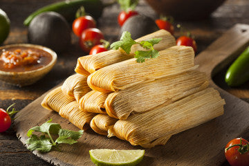 JACKFRUIT TAMALES WITH CHOCOLATE MOLE SAUCE