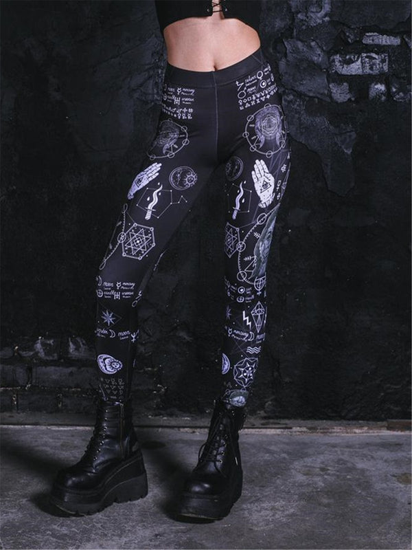 Gothisch-Print Leggings Damen