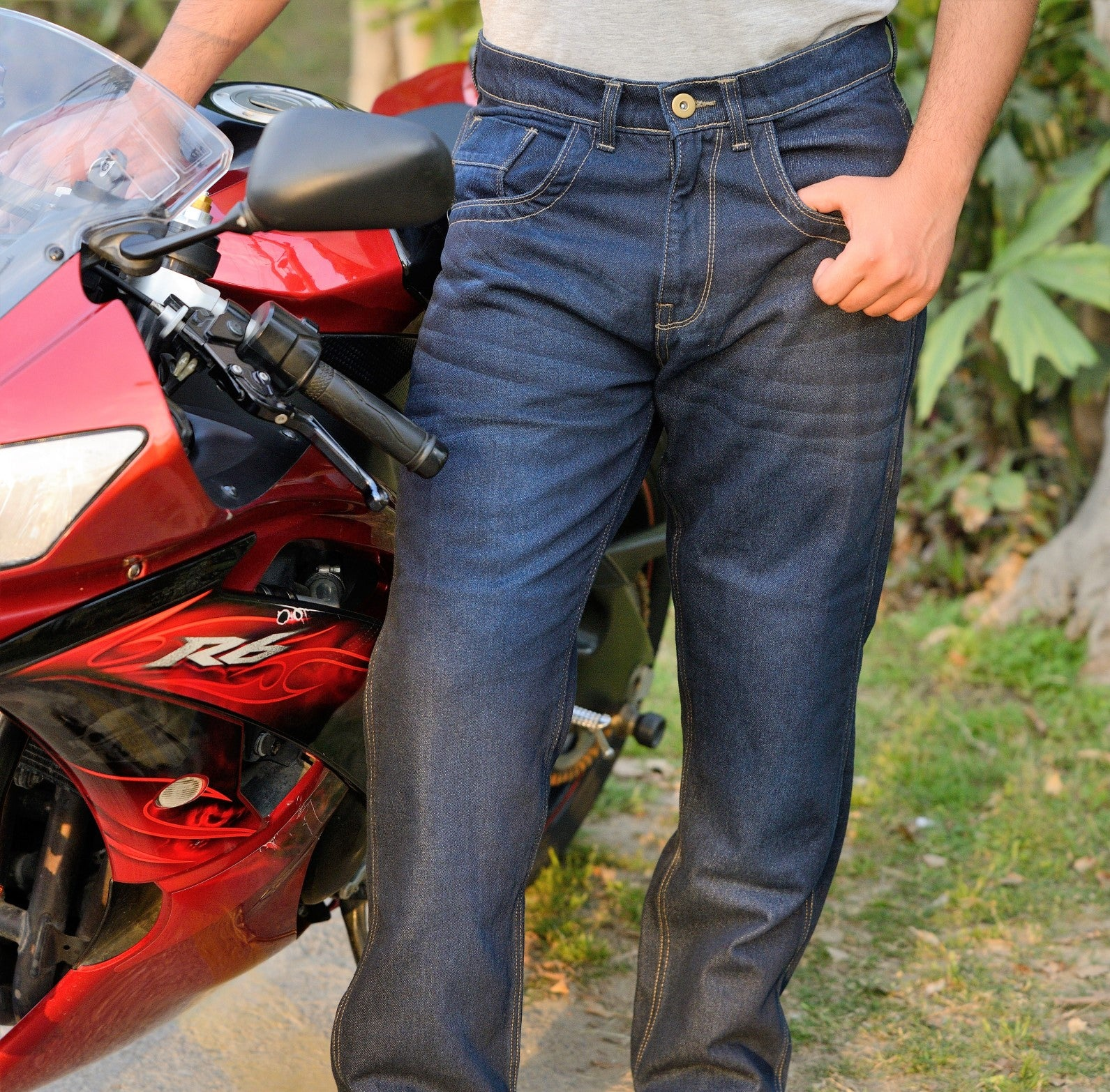 EVOQE Motorcycle Jeans Feature Forcefield CE Level 2 Isolator Upgrade Knee & Hip Armour