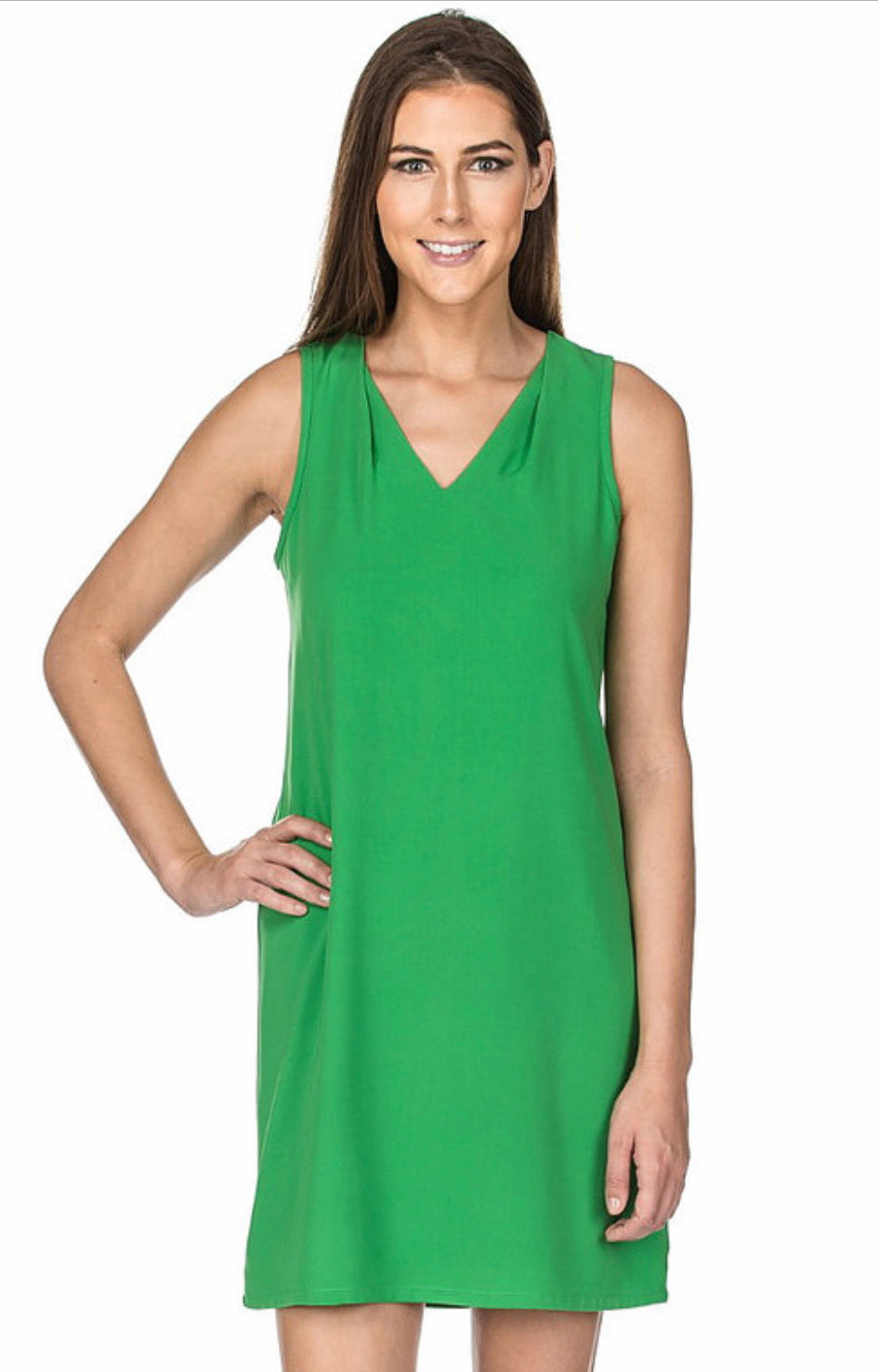 Sleeveless Green Shift Dress