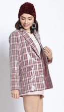 Load image into Gallery viewer, Pink Plaid Sequin Blazer