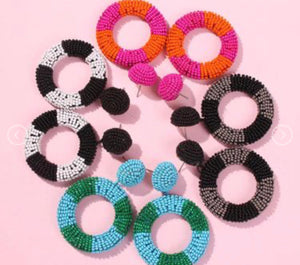 Drop Hoop Earrings ** more colors