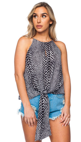 Buddy Love Black and White Reptile Tie Front Blouse ON SALE