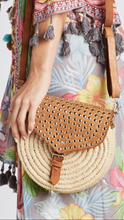 Load image into Gallery viewer, Studded Leather and Wicker Crossbody Bag