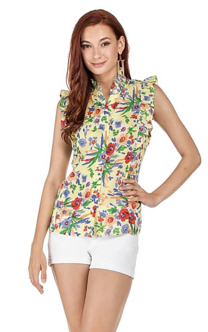 Yellow Floral Ruffle Top by Joy Joy