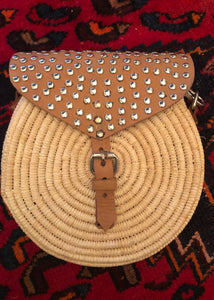 Studded Leather and Wicker Crossbody Bag