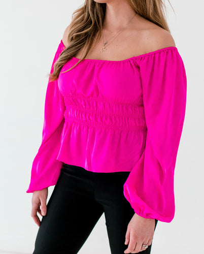 Fuschia Ruched Blouse