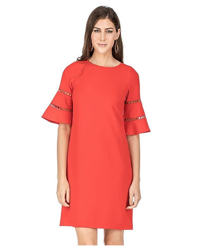 Red Shift Dress with Sleeve Detail