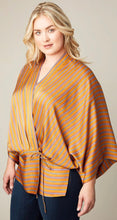 Load image into Gallery viewer, Tie Front Gold Kimono CURVY