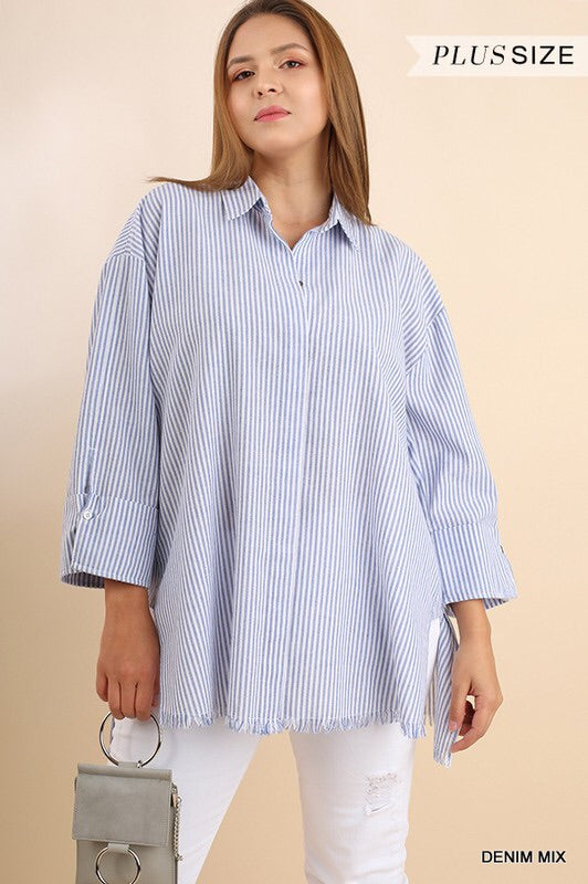 Striped Fray Hem Tunic-CURVY
