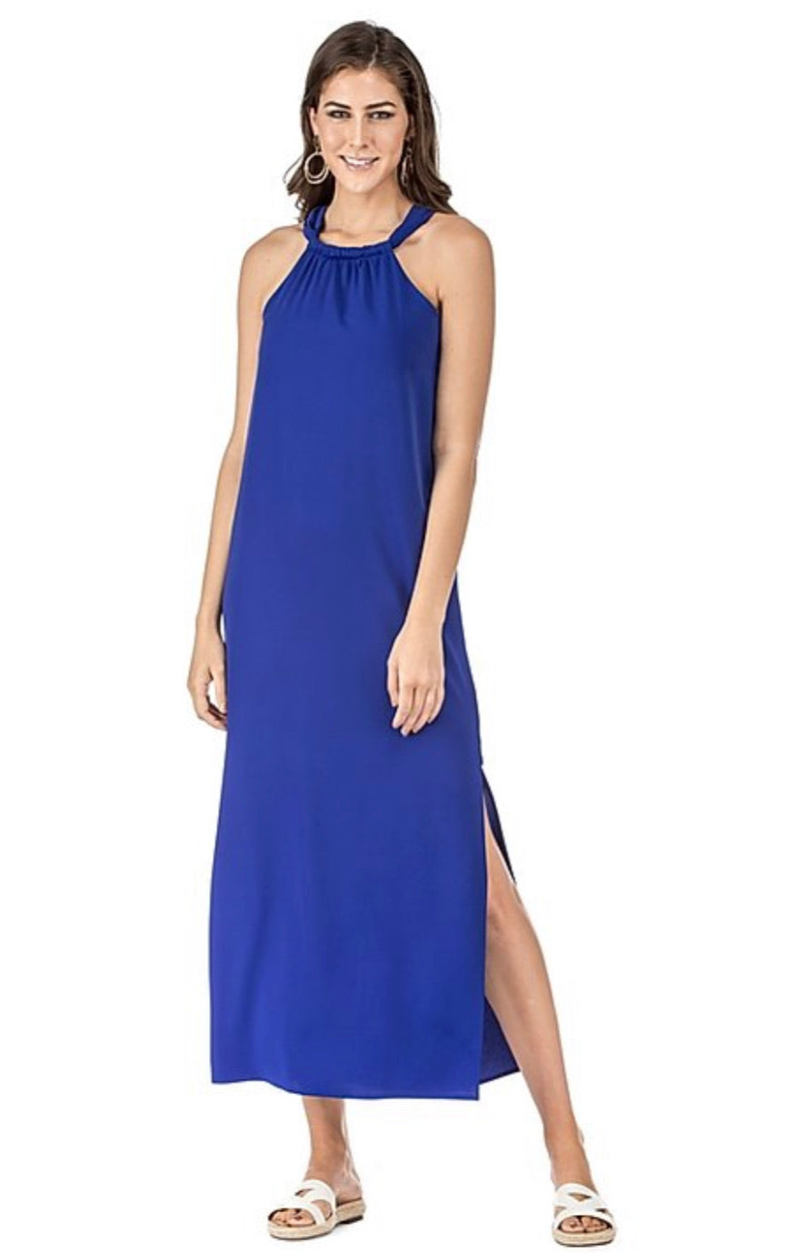 Royal Blue Halter Maxi Dress