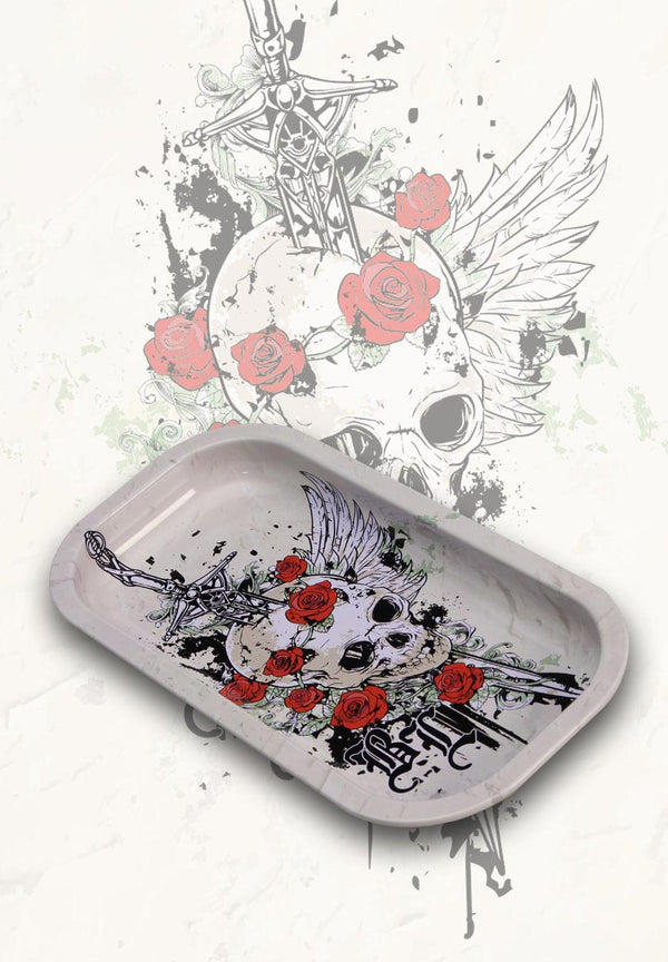 BL Skull & Roses Mixing Rolling Tray | BlackLeaf