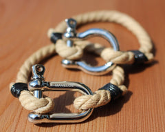 Hemp Bracelets Brown and Silver 1 Rope