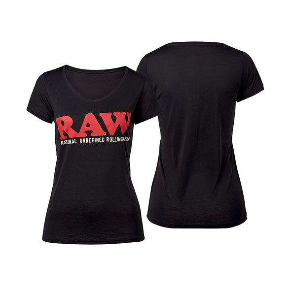 RAW-GIRL-SHIRT-LOGO-vneck-black-v-neck-tshirt-black-red-luxembourg-luxemburg-fashion-clothing-ethical