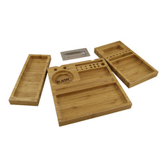 Raw Triple Flip Rolling Tray Stoner Box Bambus - Bamboo Stashbox Jointbox