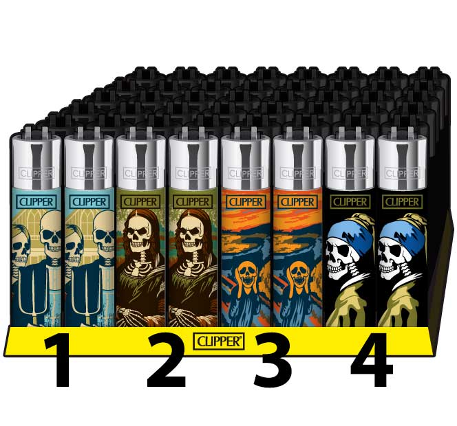 Clipper Feuerzeug Lighter Briquet Skulls Art