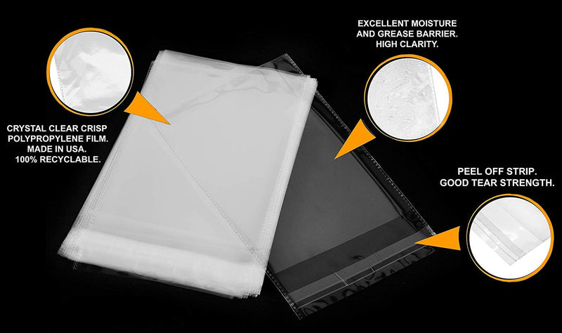 100 Pack Clear OPP Bags 8 x 10. Self-Adhesive Sealing Bags. Plastic Food Packaging. Peal and Seal. Recyclable. Moisture Resistant. Wholesale Price.
