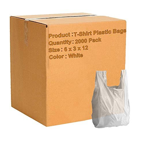 Pack Of 2000 White T-Shirt Plastic Bags 6 X 3 X 12. Plain T-Shirt Carry-Out Bags 6X3X12. Thickness 0.65 Mil. Unprinted Shopping Grocery Bags. - AMZ Supply