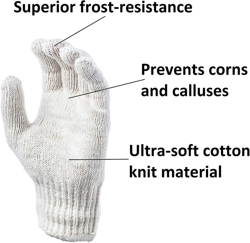 "Pack of 24 Beige String Knit Work Gloves 9.5"" - 10"" Size - AMZSupply.com"