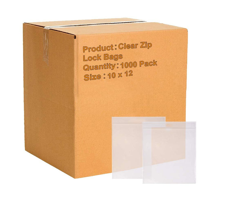 "1000 Pack Clear Poly Zip Lock Seal Top Bags 10"" x 12"" 2 Mil"