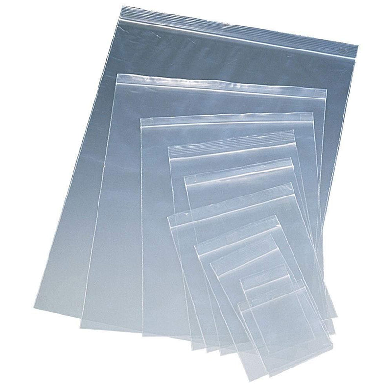 1000 Pack Clear Poly Zip Lock Bags 2 Mil —  10 Sizes