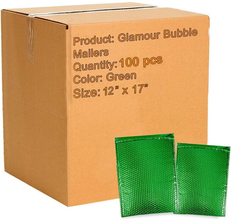 Green Heavy-Duty Glamour Metallic Foil Self-Seal Bubble Mailers Cushion Padded Envelopes /w Peel & Seal