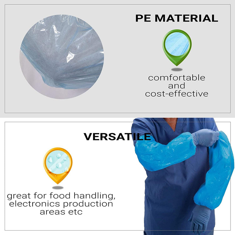 "PE Disposable Protective Oversleeves 18"" Size 2 Mil w/ Elasticated Wrist, Elbow"