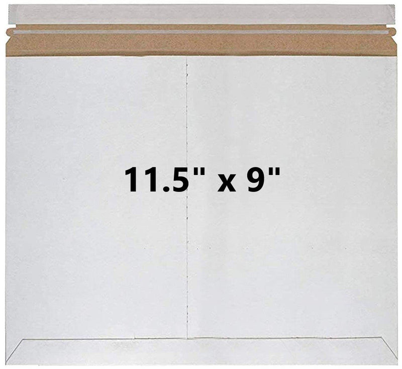 White Self-Seal Paperboard Rigid Mailers Side-Loading Stayflat Envelopes /w Tear Strip