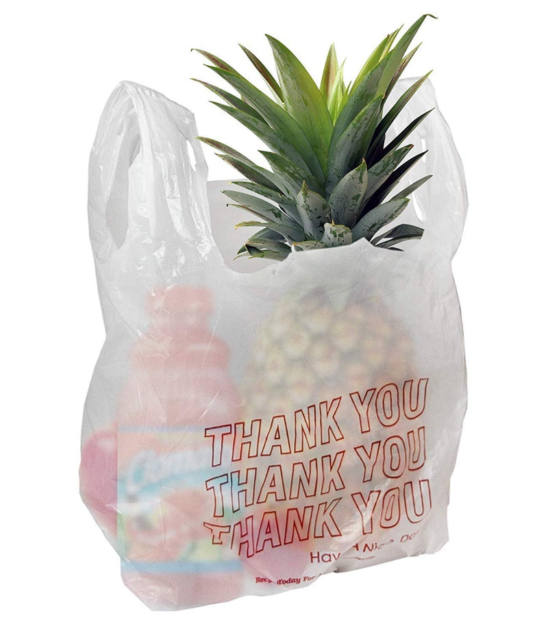 Pack Of 1000 Thank You Plastic Bags 13 X 8 X 23. Carry-Out T-Shirt Bags 13X8X23, Thickness 0.65 Mil. Reusable Preprinted Shopping Bags - AMZ Supply