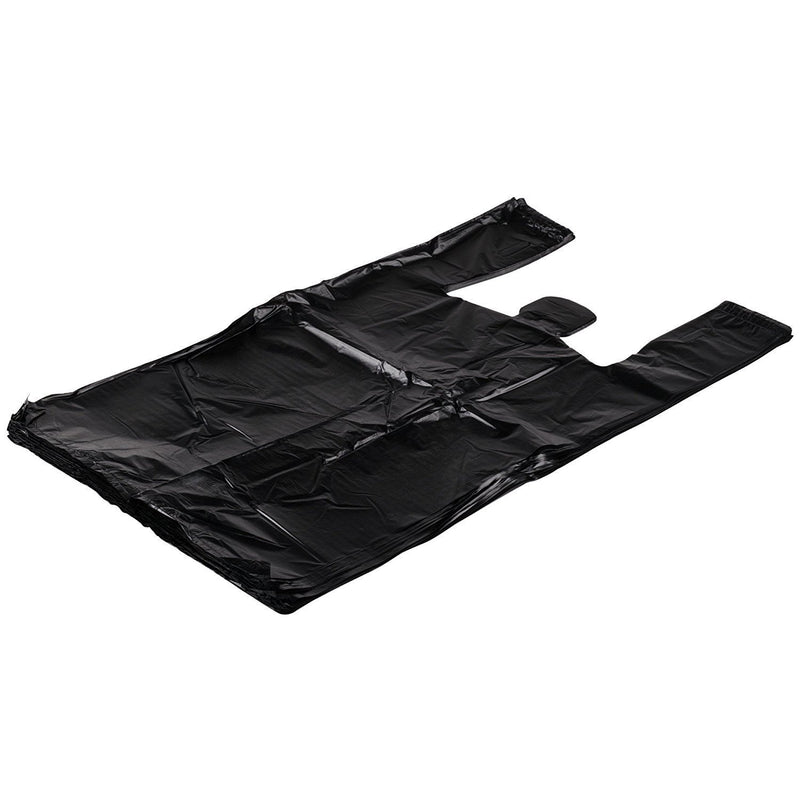 Pack Of 500 Black Plastic Bags 15 X 7 X 26. Plain Carry-Out T-Shirt Bags 15X7X26. Thickness 0.65 Mil. Unprinted Shopping Bags. - AMZ Supply