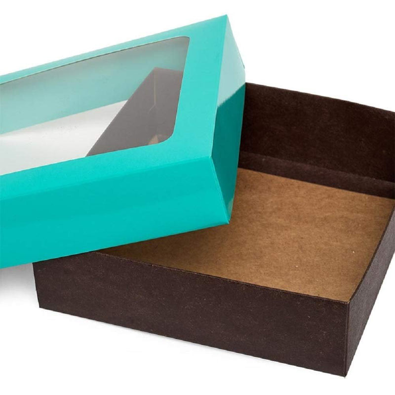 "400 Pack Bi-Colored Cookie Box With Square Window 6"" L X 6"" W X 1.75"" D Teal And Chocolate Exterior Pastry Boxes For Cookies 6"" X 6"" X 1 3/4"" - AMZ Supply"