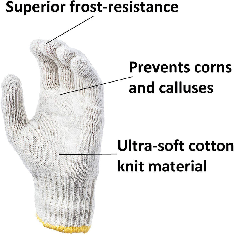 "12 Pack Beige String Knit Work Gloves Washable 9.5"" - 10"" Size - AMZSupply.com"