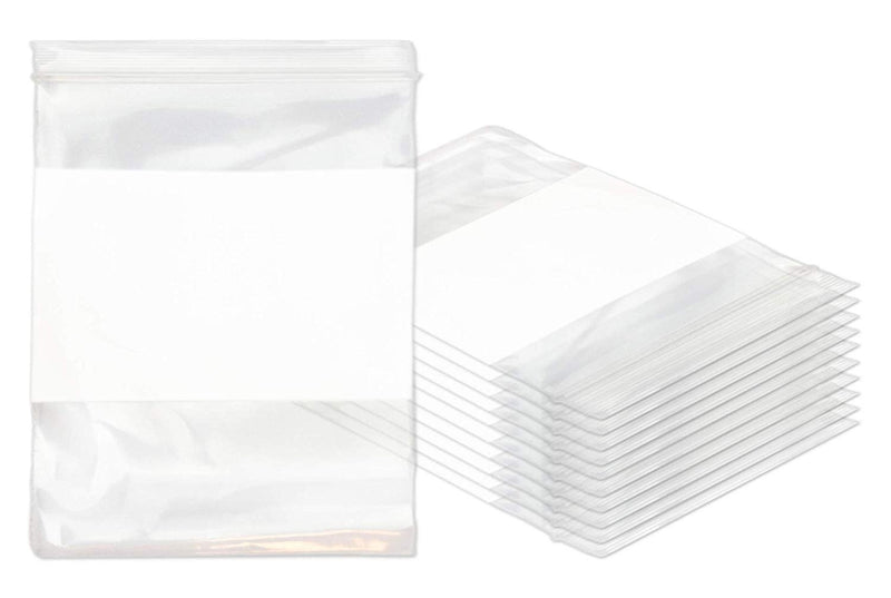 "1000 Pack White Poly Zip Lock Bags 8"" x 10"""