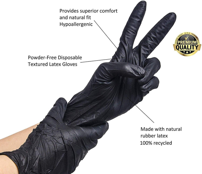 1000 Pack Black Nitrile Chemical Resistant Powder-Free Exam Gloves X-Large Size