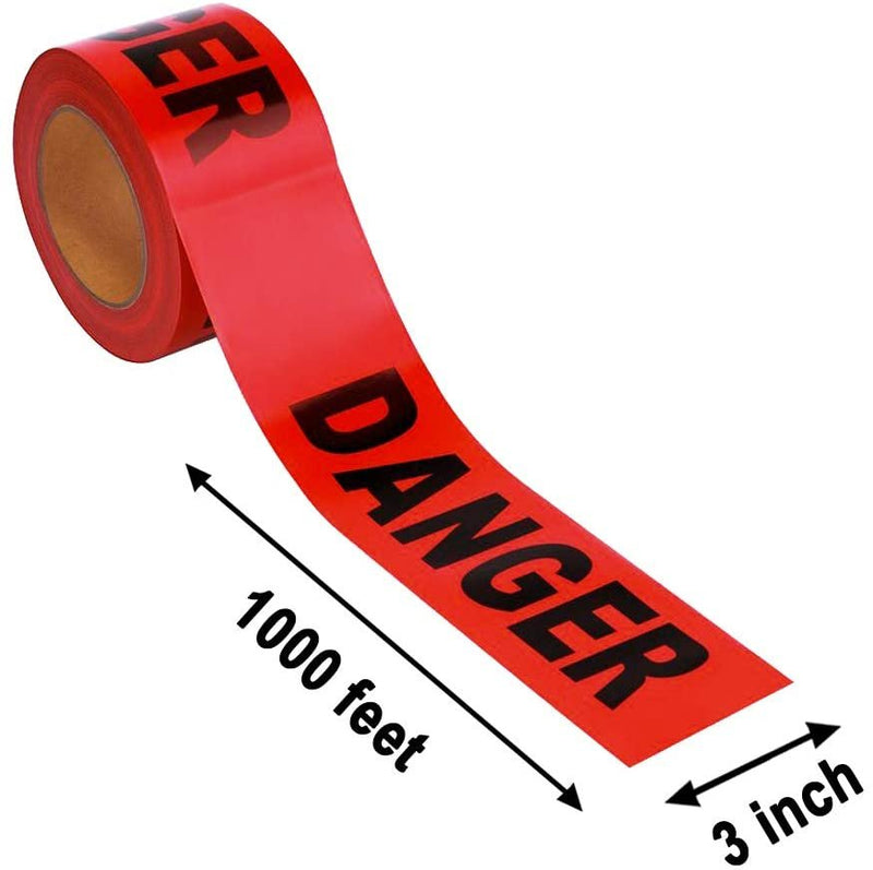 "Red and Black ""Danger"" Printed Barricade Tape 3 Mil 3"" x 1000'"