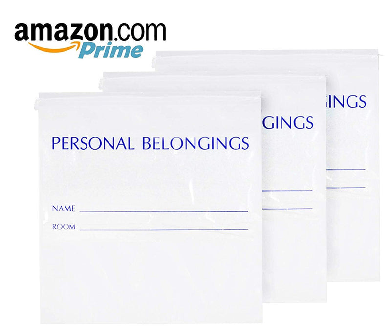 Pack Of 250 Personal Belongings Bags, White 25 x 26. Gusseted Drawstring Bags 25X26, 1.5 Mil Thick. Identifying Label - AMZSupply.com