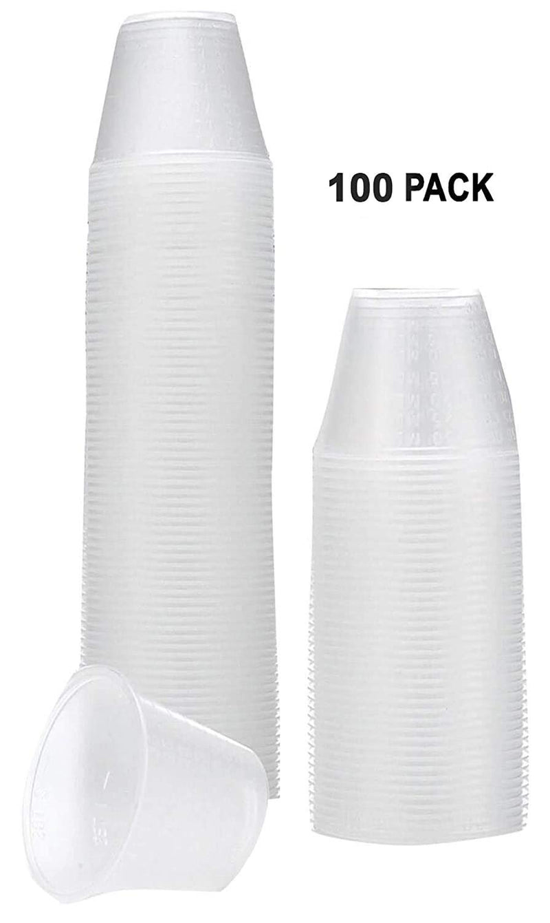 100 Pack Poly Two Measurements Medicine Cups 1 oz
