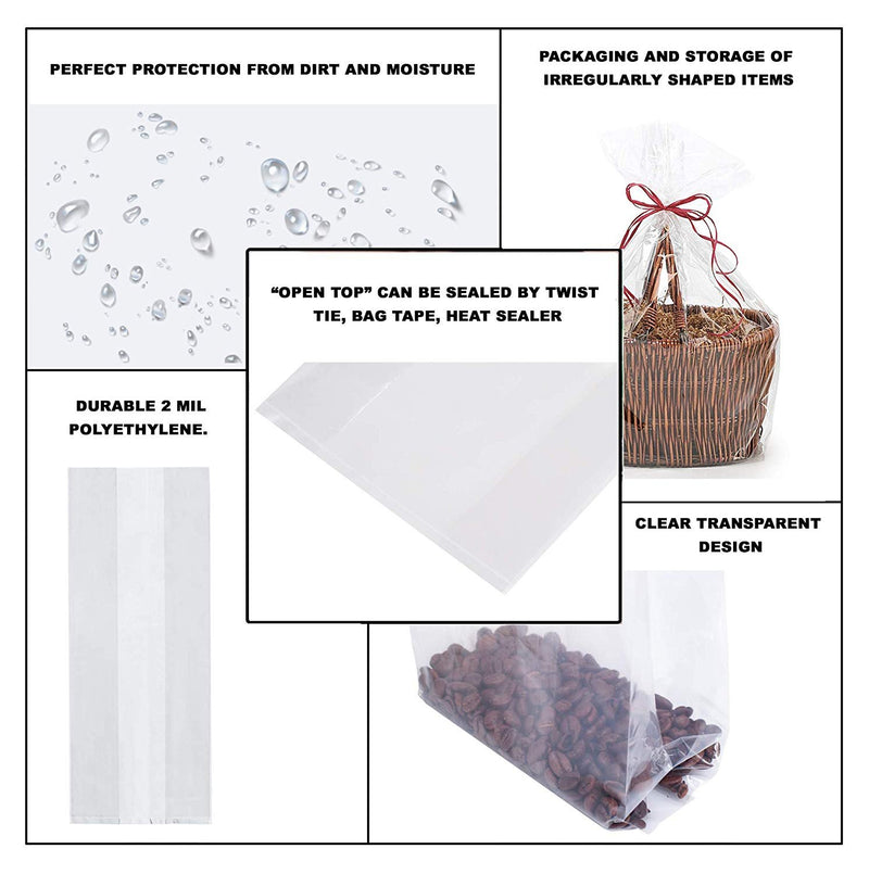 "1000 Pack Clear Poly Gusset Bags 15"" x 11"" x 18"""