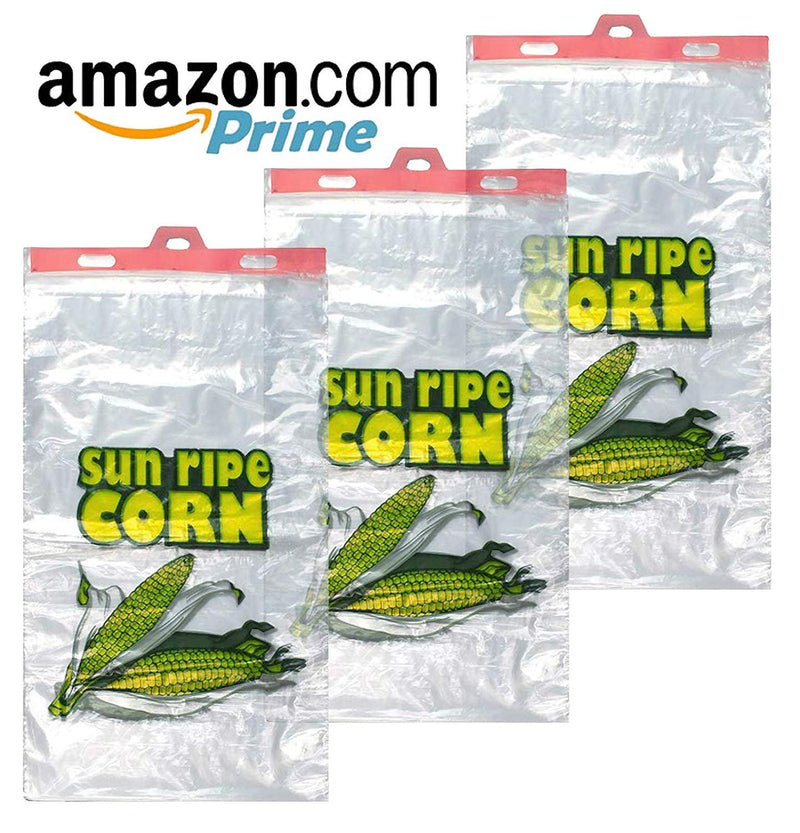 Pack Of 500 Corn Bags On Plastic Header 13 x 22 + 2 LP. Linear Low Density Polyethylene Bags On Headers 13X22. Printed Sun Ripe Corn. 1.20 Mil - AMZSupply.com