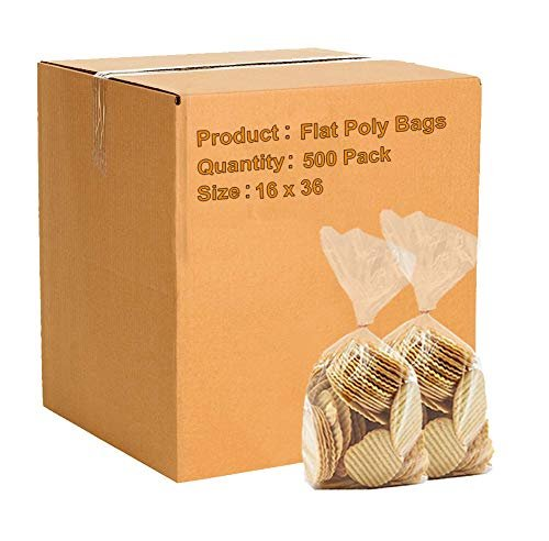 Pack Of 500 Flat Poly Bags 16 x 36. Clear Polyethylene Bags FDA Approved, 2 Mil. Open Top Plastic Bags For Storing And Transporting - AMZSupply.com