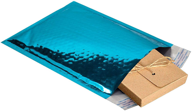 Teal Glamour Mirrored Metallic Foil Self-Seal Bubble Mailers Cushion Padded Envelopes /w Peel & Seal