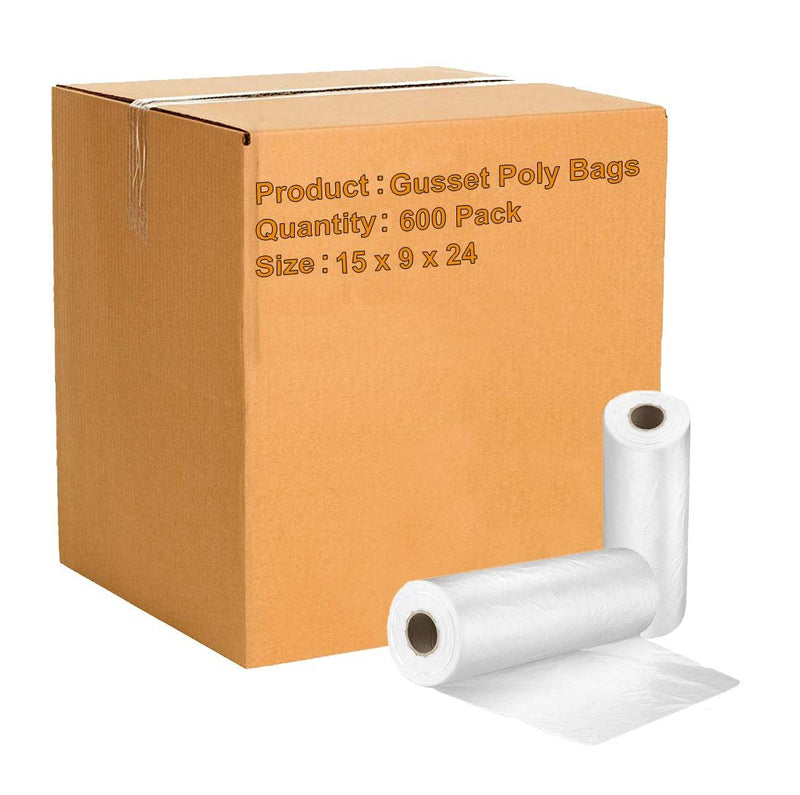 Pack Of 600 Gusset Poly Bags On Roll 15 x 9 x 24. Perforated Clear Polyethylene Bags FDA, USDA Approved, 2 Mil. Expandable Plastic Bags - AMZSupply.com