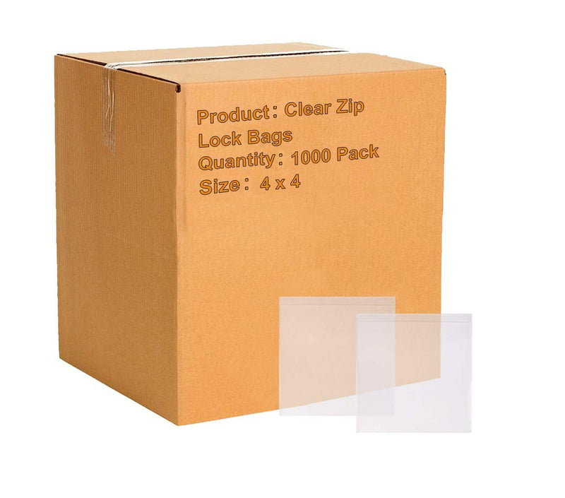 "1000 Pack Clear Low Density Poly Bags /w Hang Hole 4"" x 4"" 2 Mil"