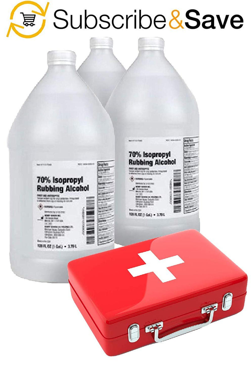 Pack Of 8 Isopropyl Alcohol 70% 1 Gallon/Bottle. Rubbing Alcohol First Aid Antiseptic. Infection Fighter. Industrial And Household Chemicals. - AMZ Supply