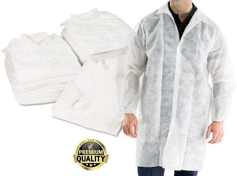 White Polypropylene Disposable Lab Coats Visitor Poly Coats