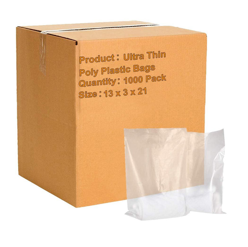 "1000 Pack Clear Poly Merchandise Bags 13"" x 3"" x 21"""