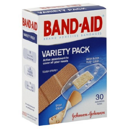 Adhesive Strip Band-Aid® Variety Pack Assorted Sizes Fabric / Plastic Assorted Shapes Clear / Tan Sterile — 24 pack
